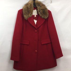 Kate Spade New York Wool Blend Faux Fur Trim Coat
